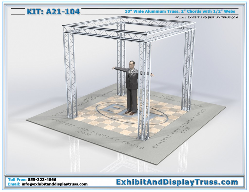 "Truss Display Kit: A21-104. 10' x 10' booth size. 10"" wide aluminum box truss."