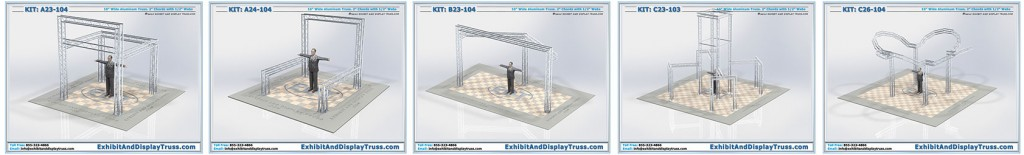 Collection of displays by edt exhibit and display truss and lds light design systems.