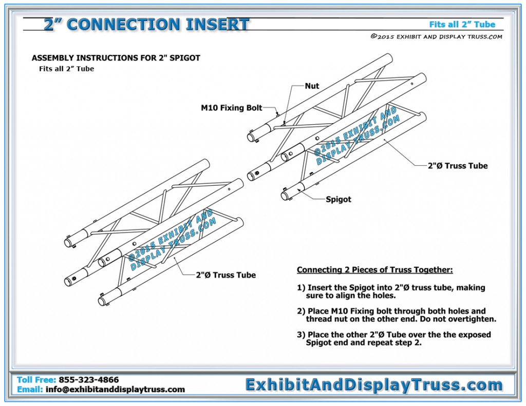 "Assembly Instructions for 2"" Tube Connection Insert System. Fast and Easy to Assemble. M10 Nylock nuts and bolts"