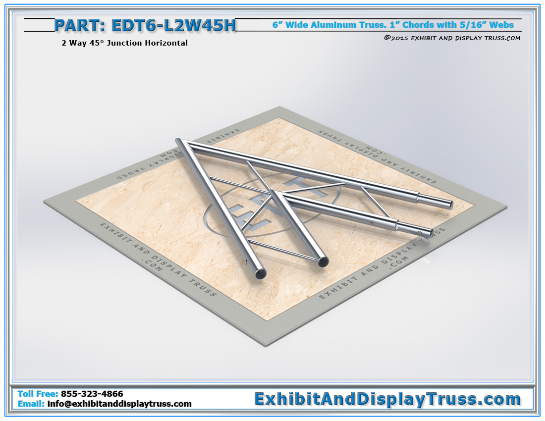 PART: EDT6-L2W45H / 2 Way 45° Ladder Junction Horizontal