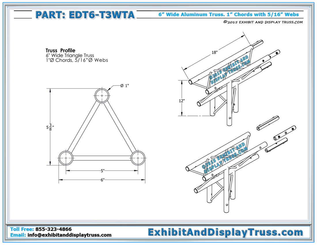 6 wide aluminum mini truss 3 way 90 t junction apex down click here for pdf click here for hexwebz Choice Image