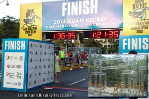 We have made finish line systems for regions as far as Guam. You know we're good at what we do when you travel all the way from Guam to have us create your finish line trussing system or starting line system.