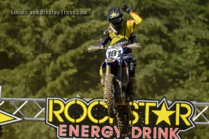 The RockStar Energy drink folks knew where to come when they needed a large, wide finish line for the Motocross challenge.