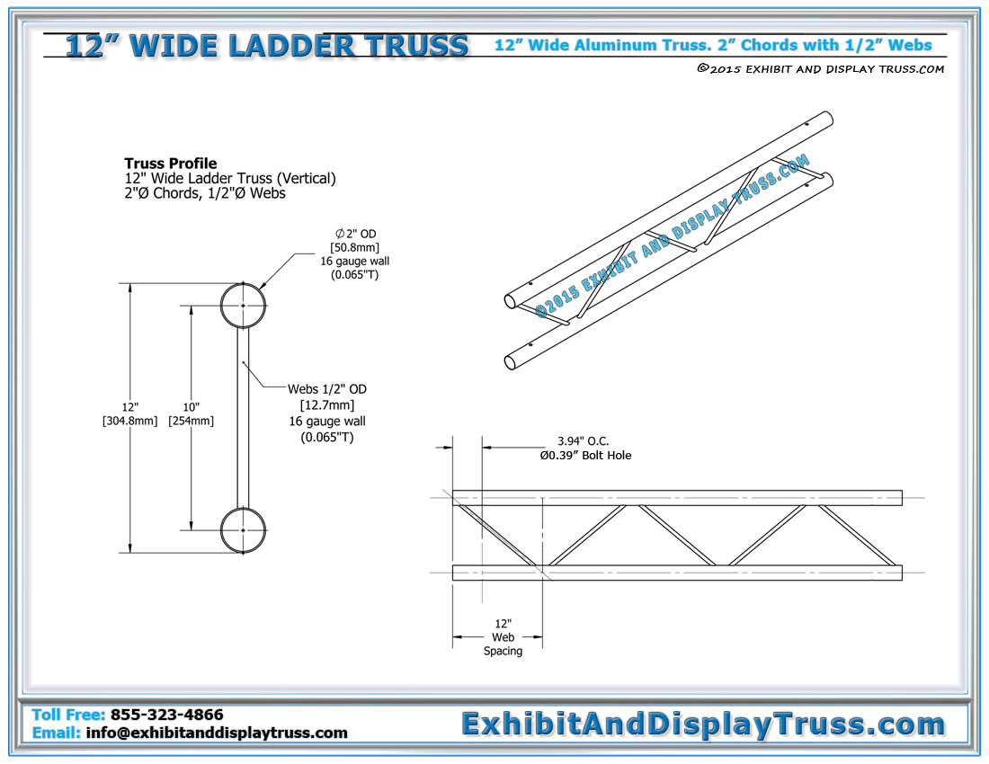 12 wide aluminum truss 12 wide ladder truss for 4 12 roof truss prices