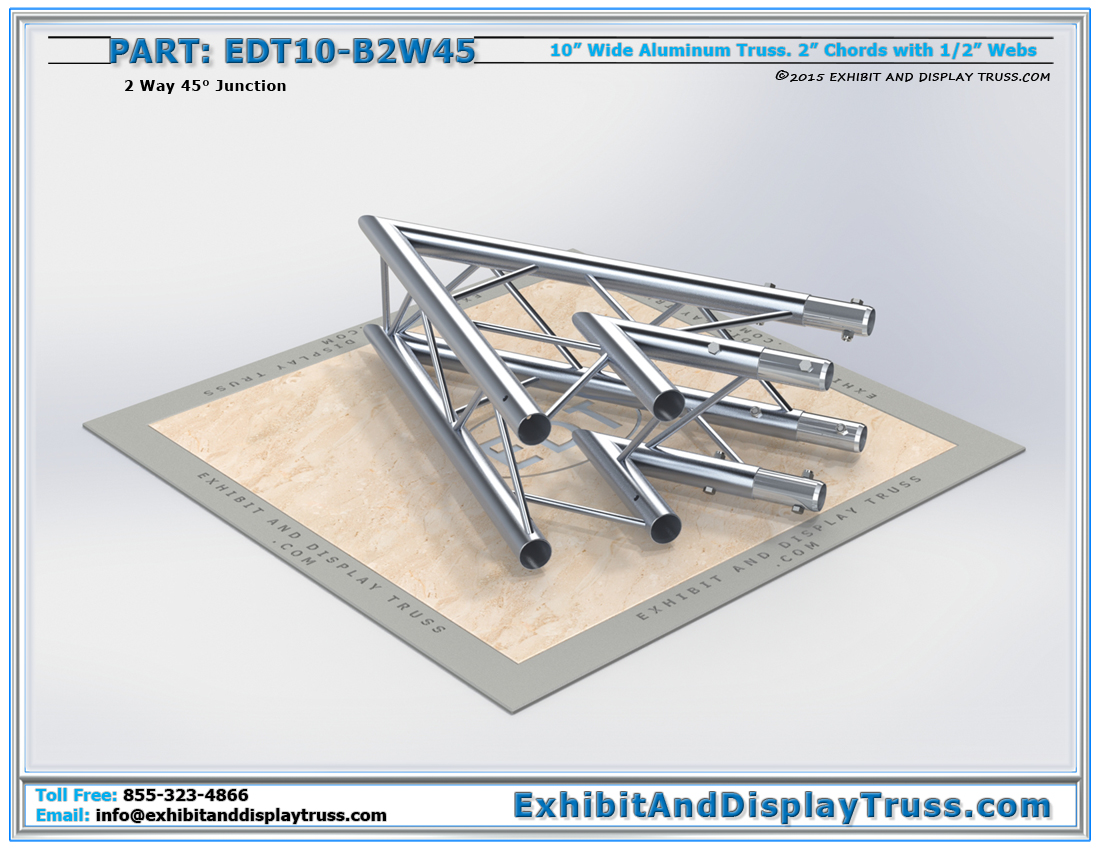 PART: EDT10-B2W45 / 10″ Wide 2 Way 45° Box Junction