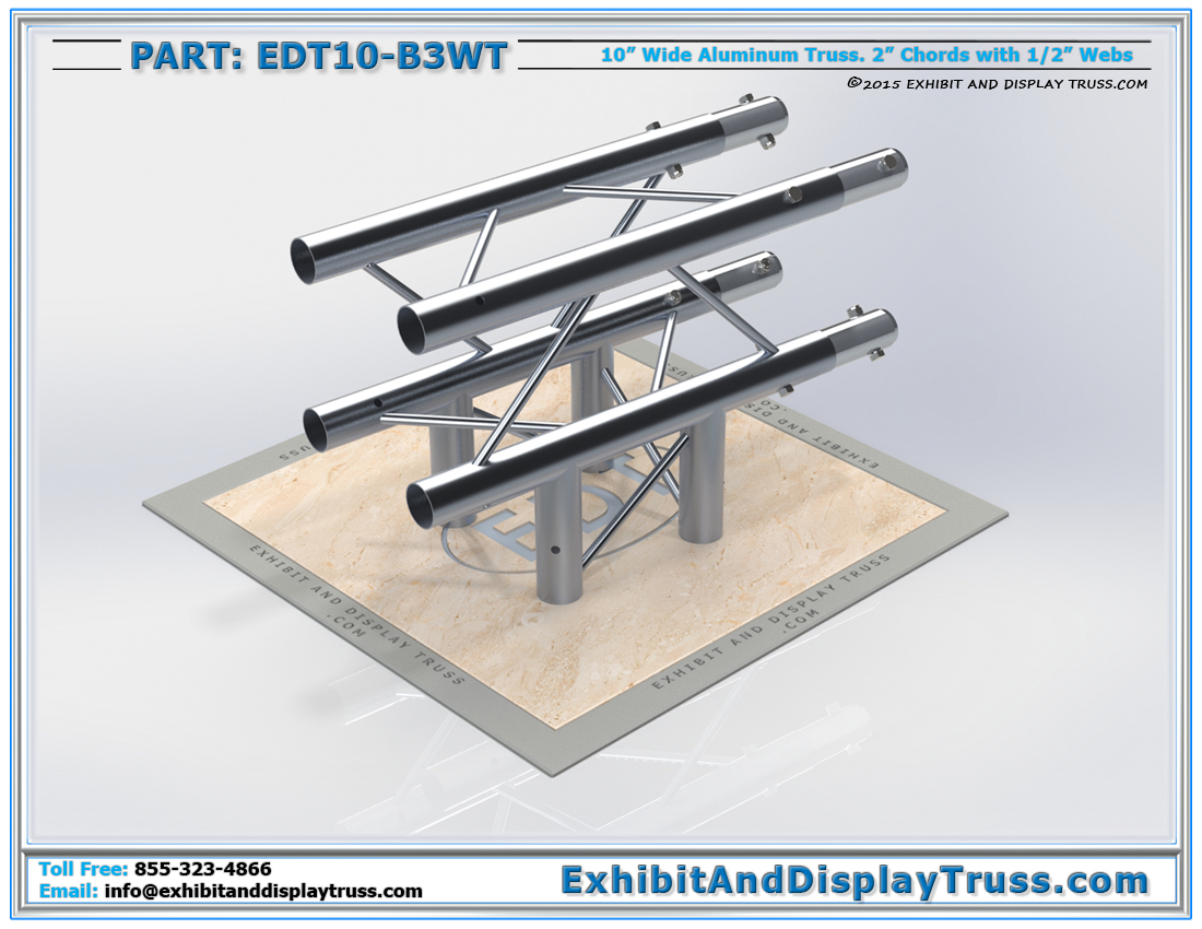 "PART: EDT10-B3WT / 10″ Wide 3 Way 90° ""T"" Box Junction"