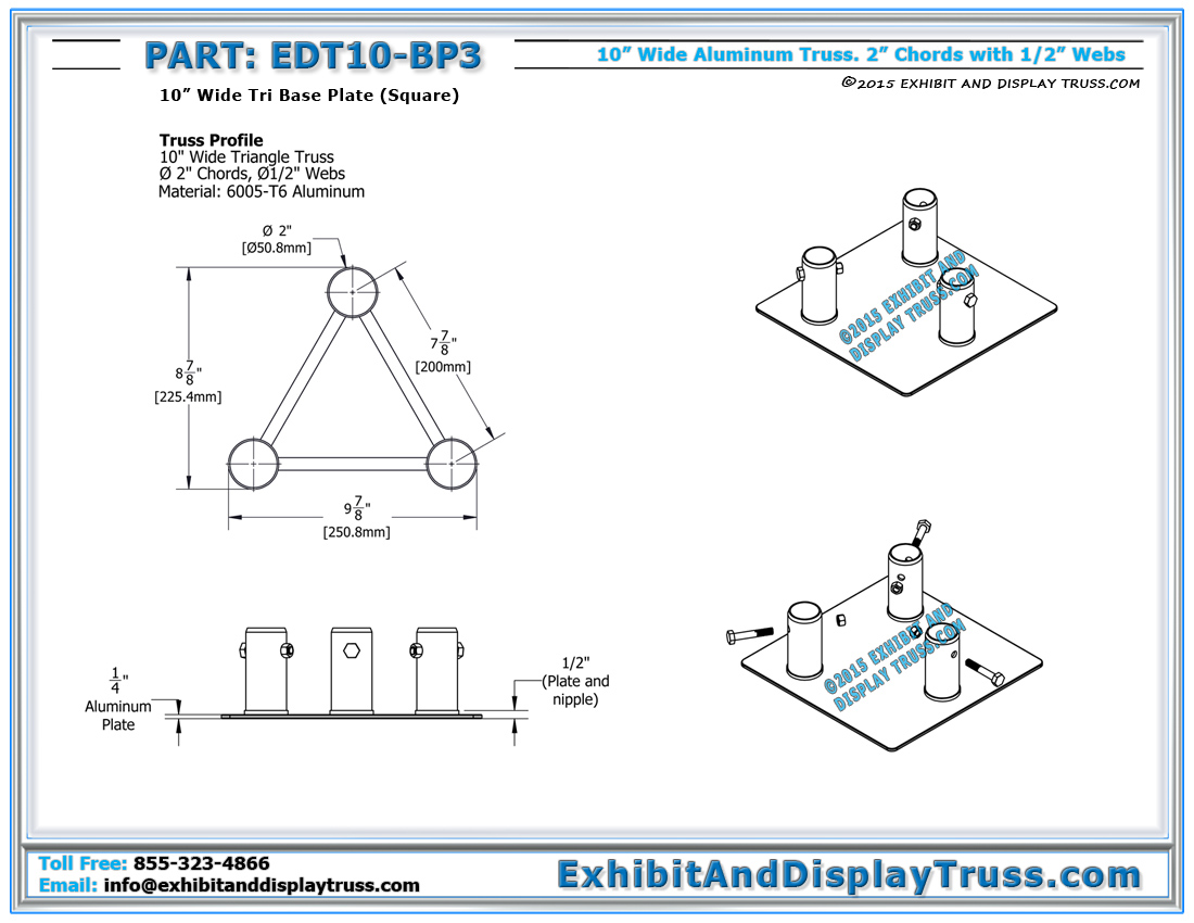 Aluminum base plates 10 wide standard base plates click here for pdf click here for hexwebz Choice Image