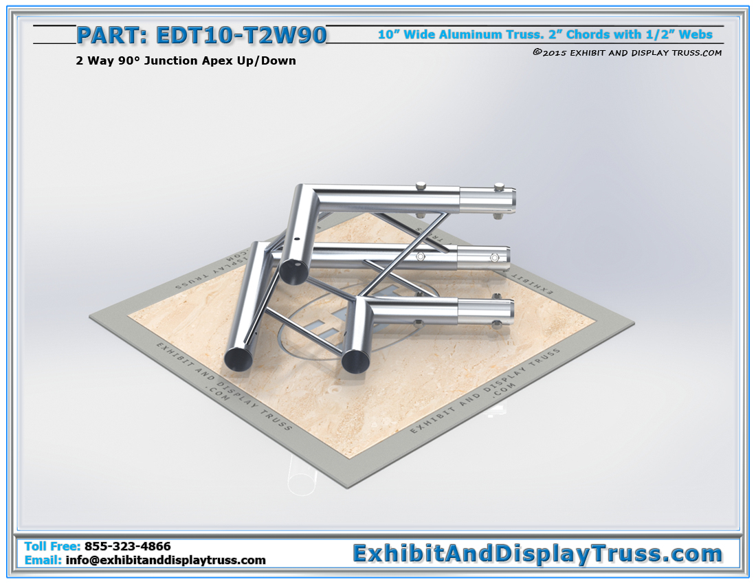 PART: EDT10-T2W90 / 10″ Wide 2 Way 90° Junction Apex Up or Down