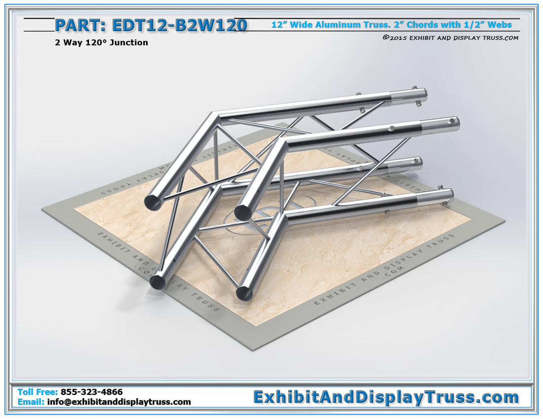 PART: EDT12-B2W120 / 12″ Wide 2 Way 120° Box Junction
