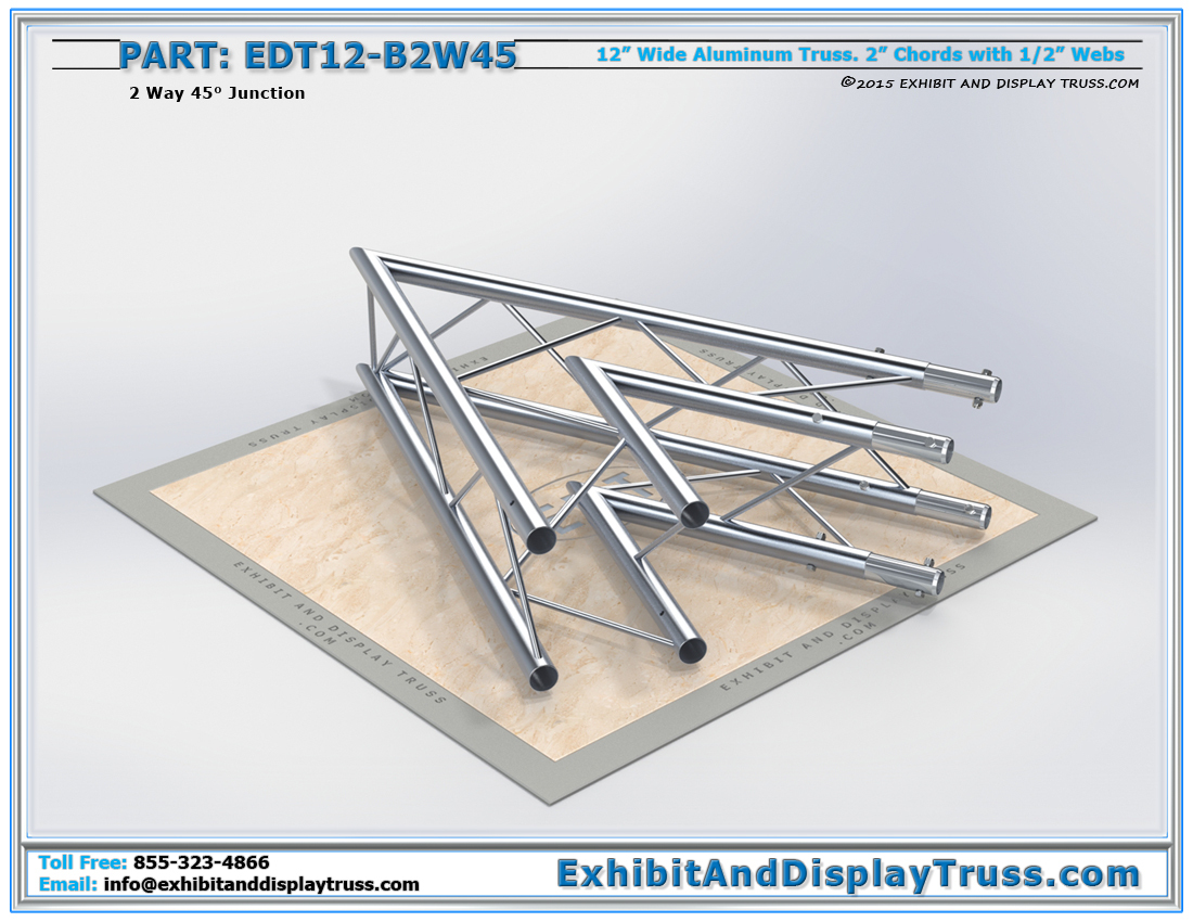 PART: EDT12-B2W45 / 12″ Wide 2 Way 45° Box Junction