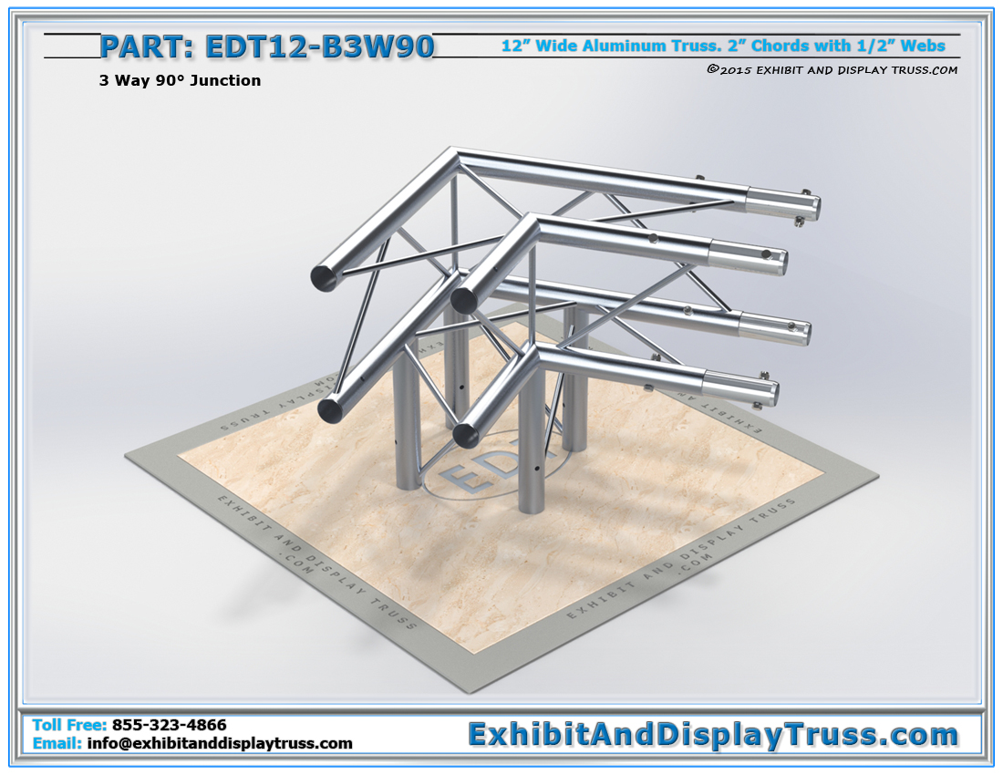 PART: EDT12-B3W90 / 12″ Wide 3 Way 90° Box Junction