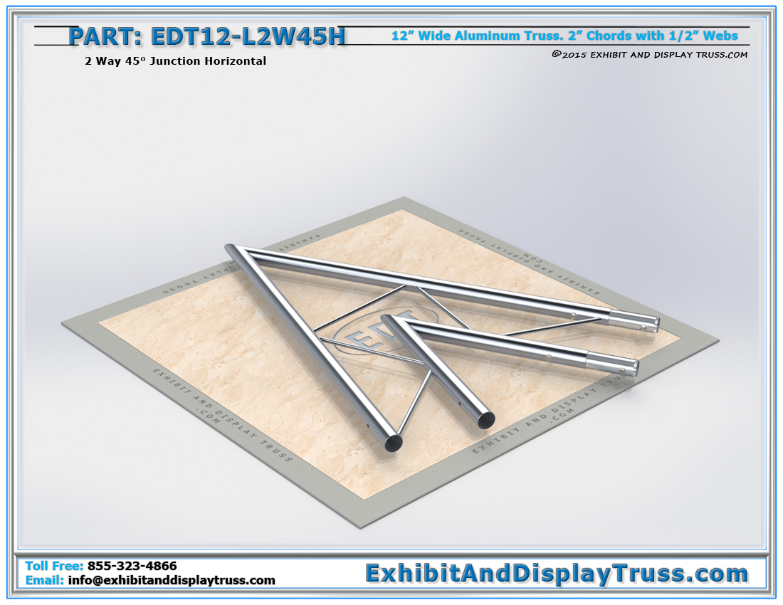 PART: EDT12-L2W45H / 12″ Wide 2 Way 45° Junction Horizontal