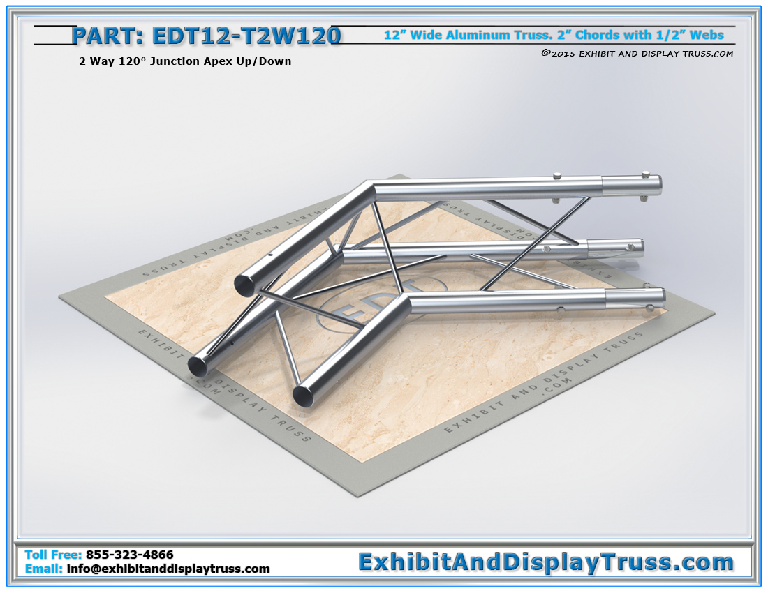PART: EDT12-T2W120 / 12″ Wide 2 Way 120° Junction Apex Up or Down