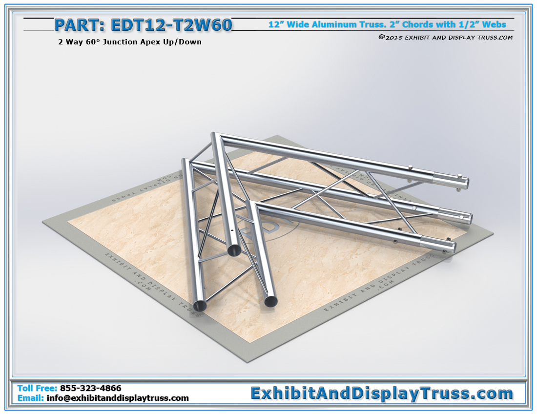 PART: EDT12-T2W60 / 12″ Wide 2 Way 60° Junction Apex Up or Down
