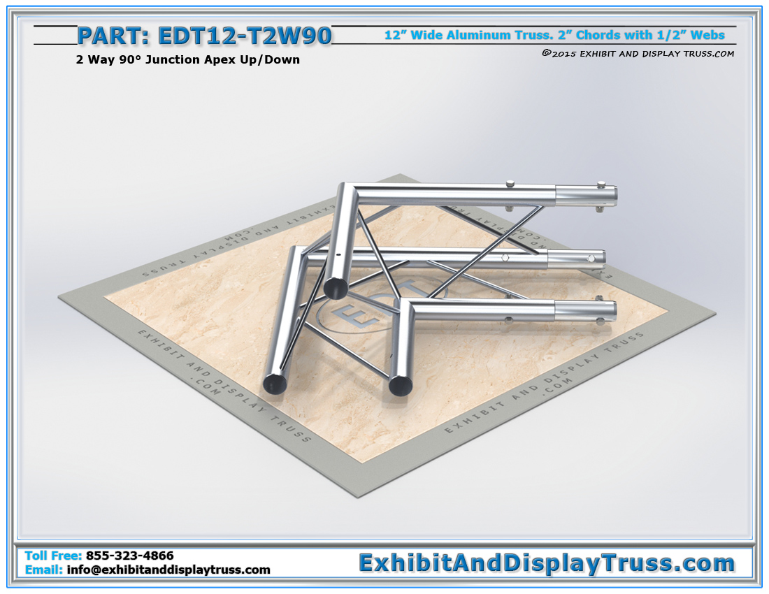 PART: EDT12-T2W90 / 12″ Wide 2 Way 90° Junction Apex Up or Down