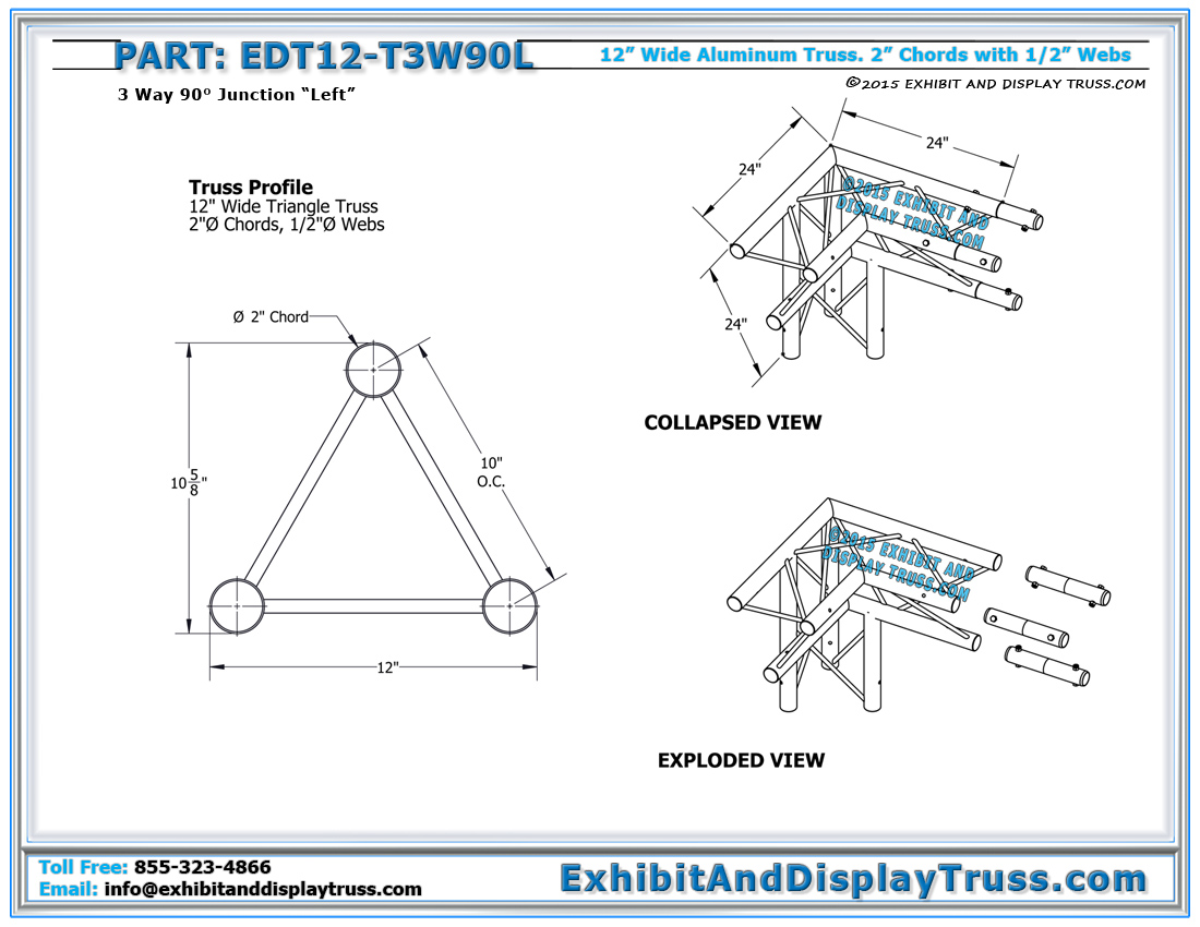 12 wide aluminum truss 12 wide 3 way 90 junction left for 4 12 roof truss prices