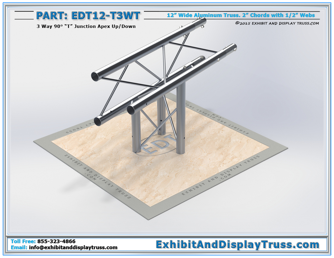 """PART: EDT12-T3WT / 12″ Wide 3 Way 90° """"T"""" Junction Apex Up or Down"""