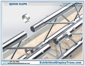 Quick Clips: Optional Accessory for a Portable Exhibit Booth. Allows for tool free assembly.