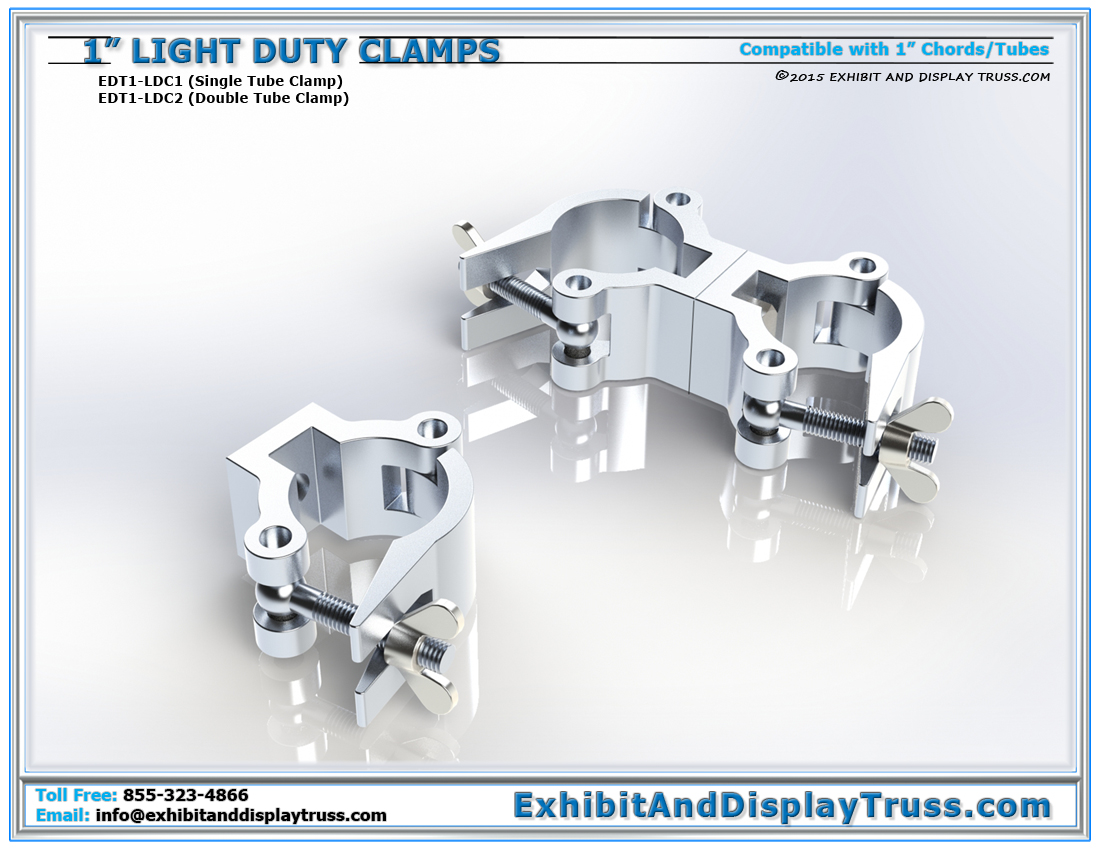 Light Duty Clamps for 1″ Tubes / Single and Double Tube Clamps