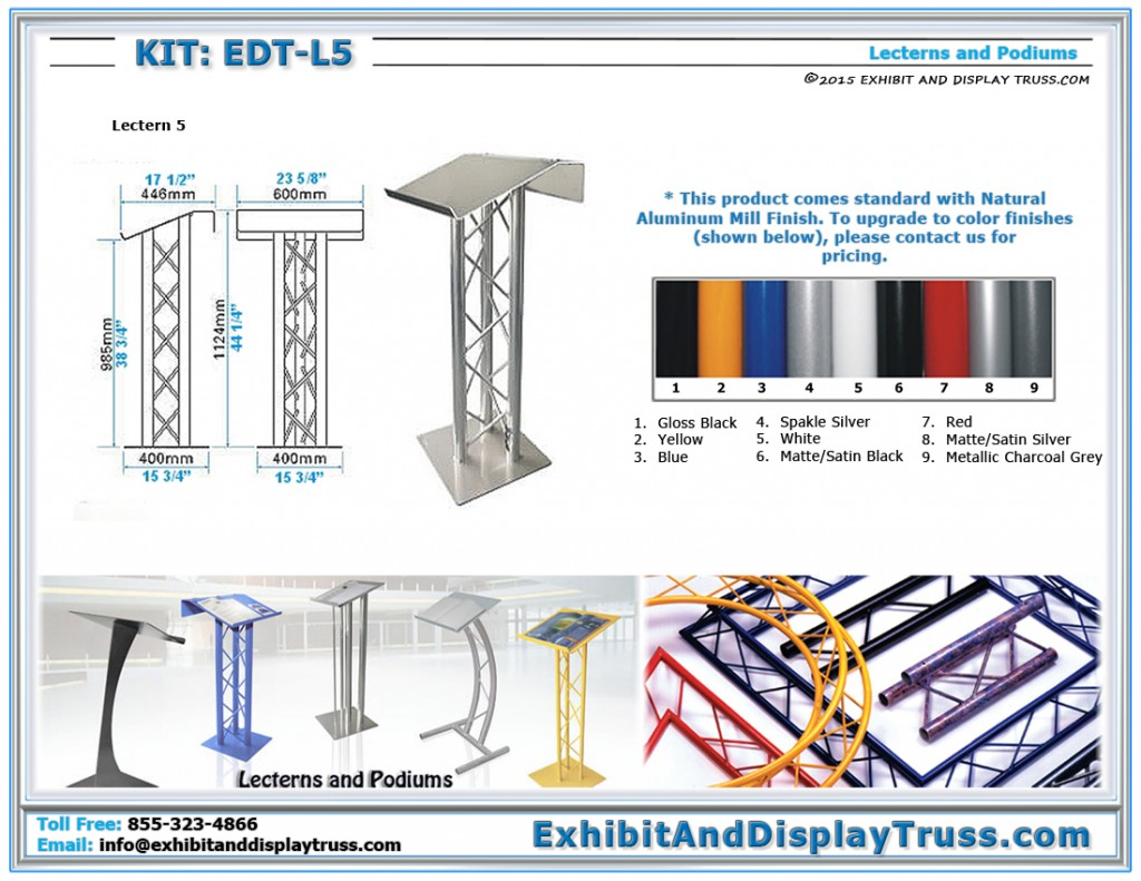 Dimensions for EDT_L5 Lectern 5. Aluminum truss lectern. Extra large podium top with panel for displaying logos.