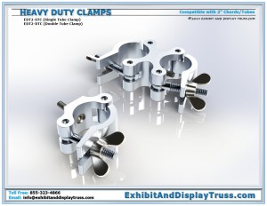 Heavy Duty Clamps (EDT2-STB EDT2-DTC). Fits 2 inch Tubes/Chords. Used to attach accessories to aluminum Truss.