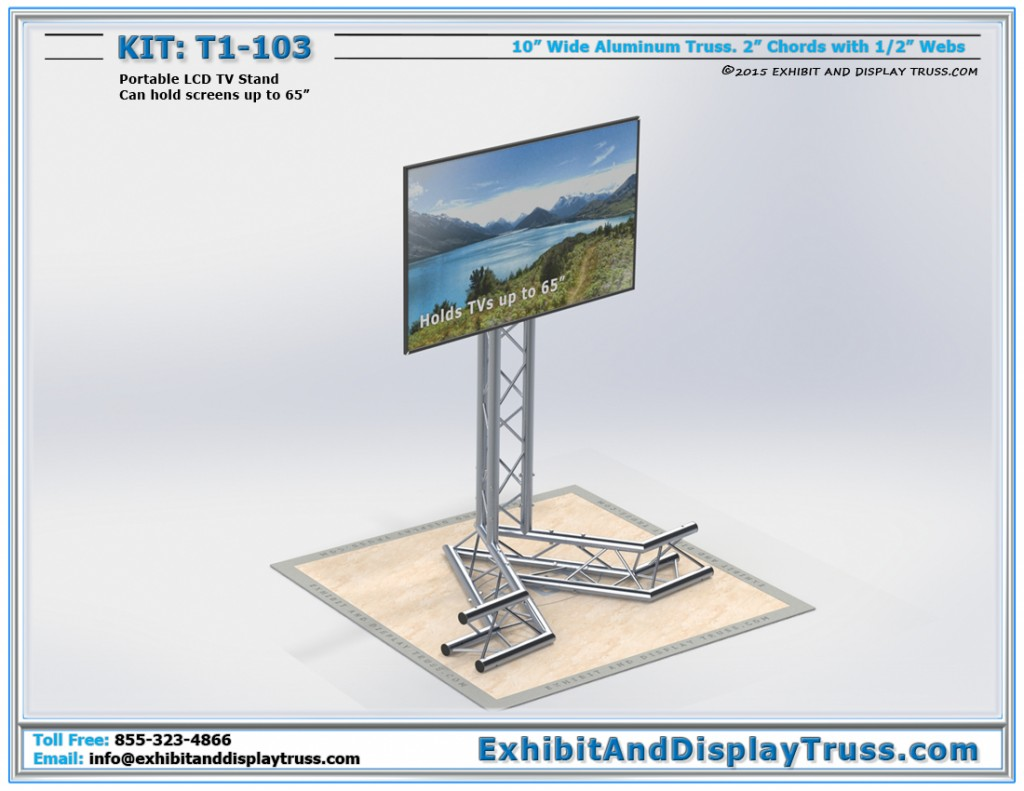 T1_103 Portable LCD TV Stand. 10 inch wide box truss. Screens up to 65 inch.