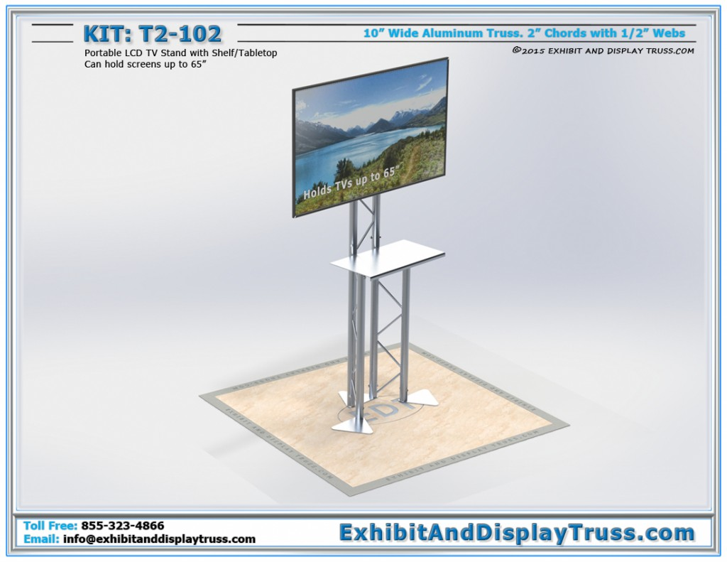 T2_102 Portable LCD TV Stand. Holds screens up to 65 inches. Made from 10 inch wide aluminum truss.