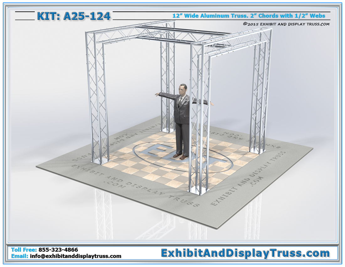 Kit: A25-124 / Aluminum Truss Tradeshow Exhibit Booth for TVs and Signage