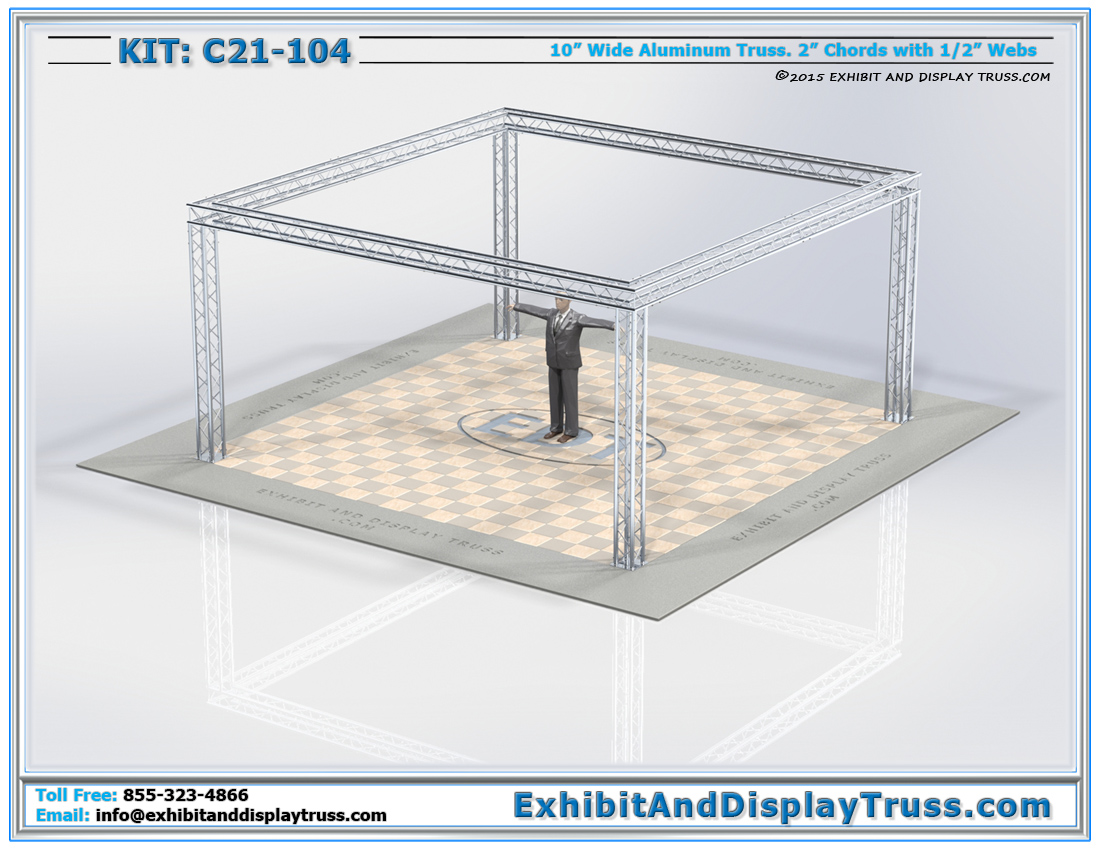"Convention display C21-104. 20' X 20' trade show exhibit booth. 10"" wide box truss. Modular Display Booths."