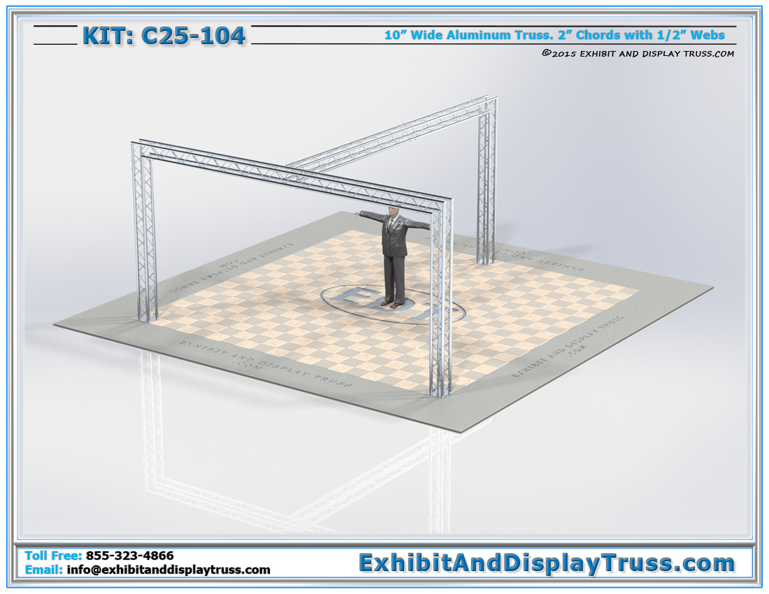 Kit: C25-104 / Large Truss Exhibit Design for hanging Banners and LED and Plasma TVs