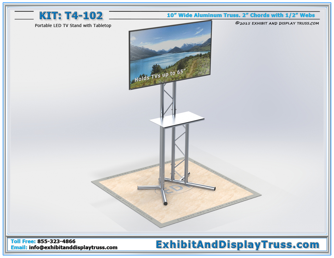 T4-102 Portable LED TV Stand and Flatscreen Monitor Stand / Portable TV Stand with Mount for Trade Shows
