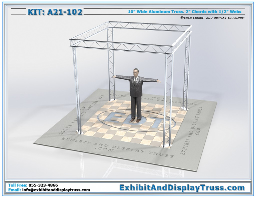 Ladder Truss Display Booth A21-102. Flat Packs, is lightweight, and easy to transport.
