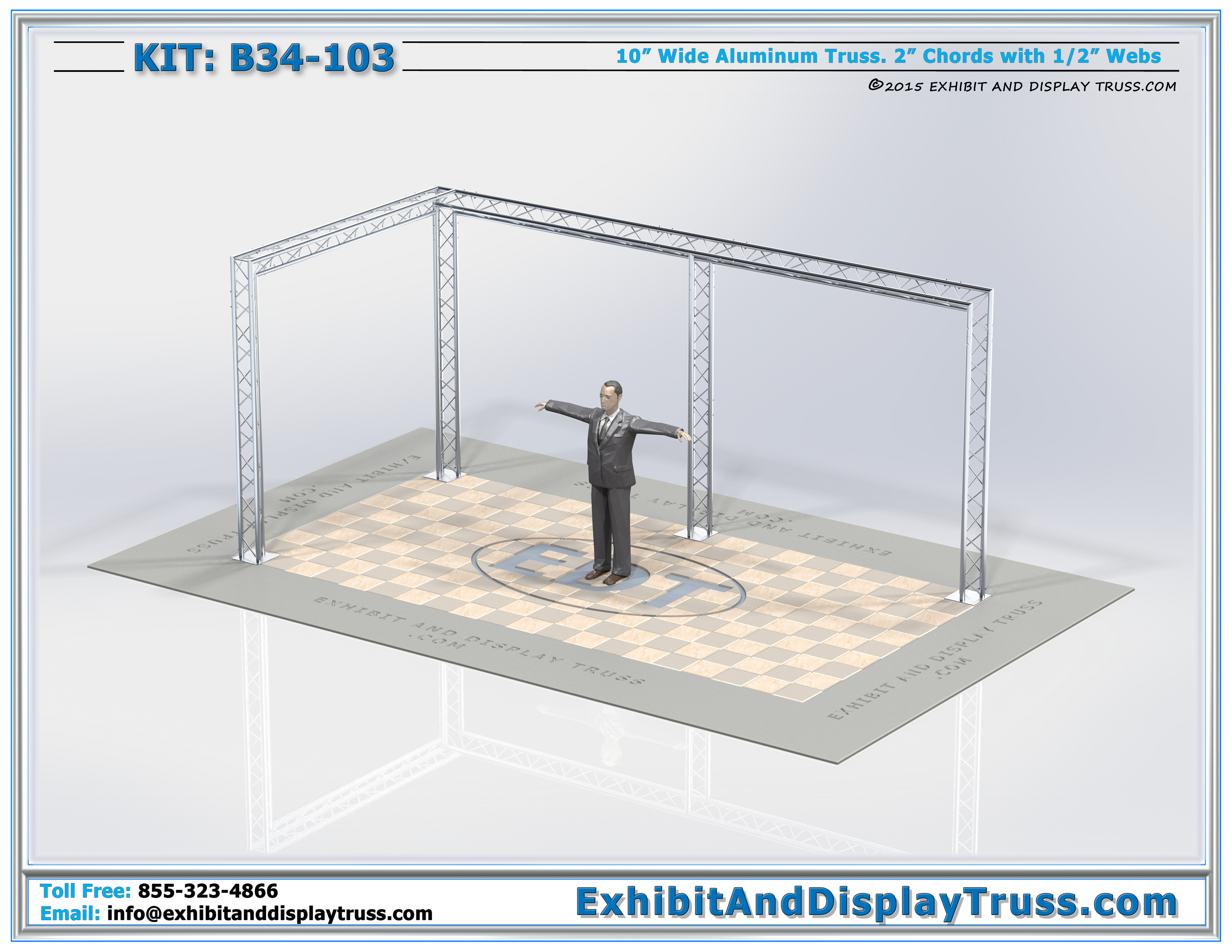 Exhibition Booth Banner : Kit b l shaped truss banner display rig