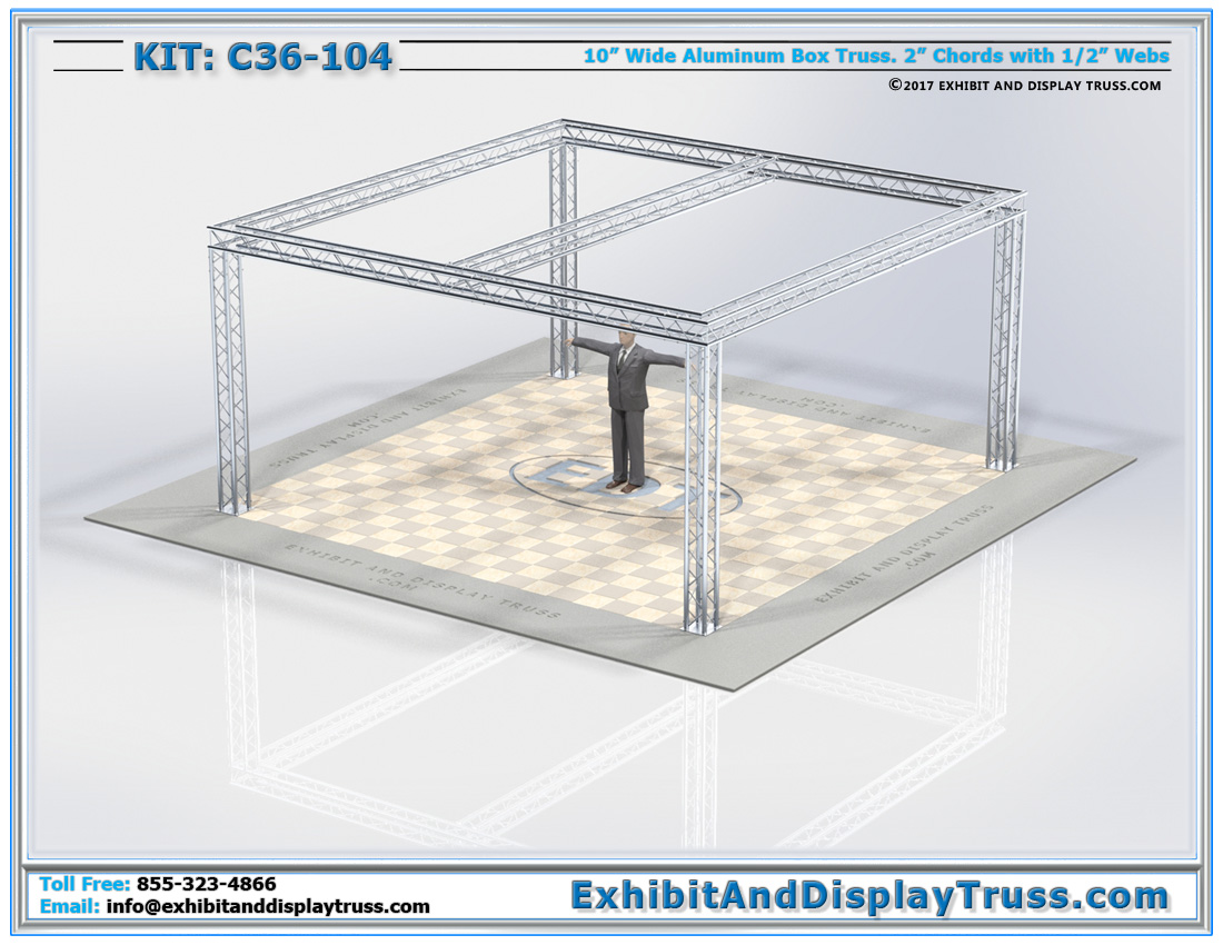 Kit C36-104 / Aluminum Lighting Truss for Trade Show Booths. Center Beam for Lights