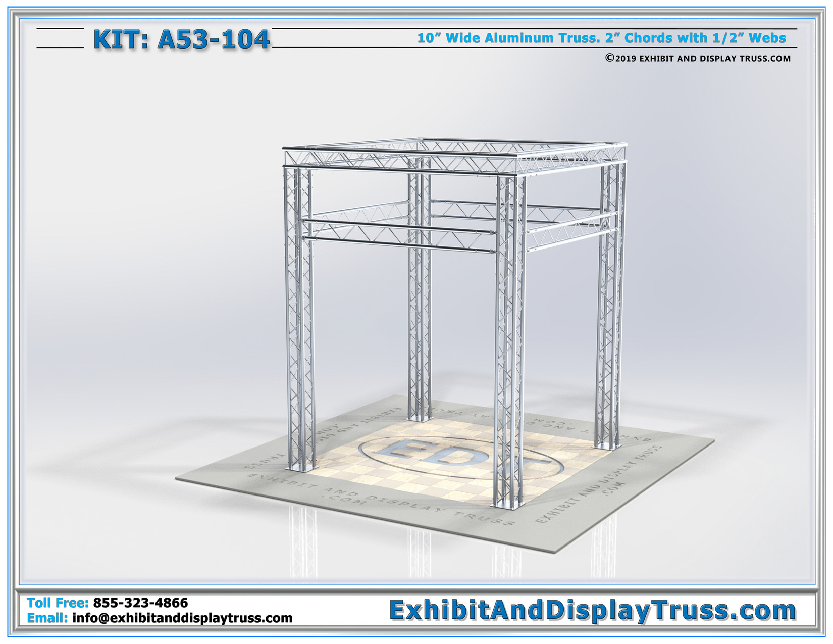 Kit: A53-104 / Modular Truss Perimeter Booth with Decorative Overhead 360 Degree Signage Area