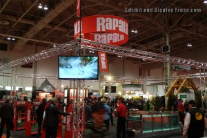Rapala convention booth exhibit. A large open display booth used to frame in existing displays for products and services.