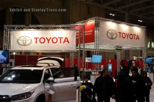 Toyota aluminum truss display booth for trade show and convention halls.