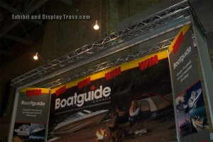 Boatguide trade show display made with aluminum trussing. Fantastic tall exhibit that stands out in a crowd.