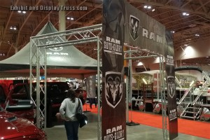 Our EDT aluminum truss is very popular as you can see. THe most cost effective method of building a load bearing display booth that looks great.