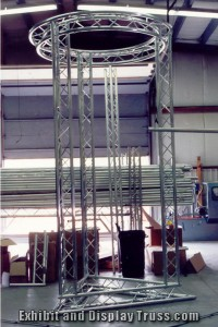 Circle truss and triangle truss. Custom fabricated truss. Custom trussing for display.