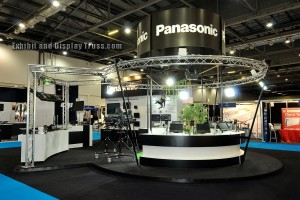 Panasonic trade show truss display. Curved aluminum trussing is used to create this exciting exhibit.