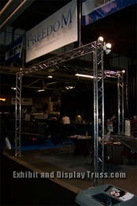 Goal post style aluminum truss trade show exhibit for convention hall or exhibit area.