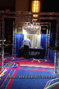 DiaLIght LED trade show display booth made with EDT aluminum trussing.