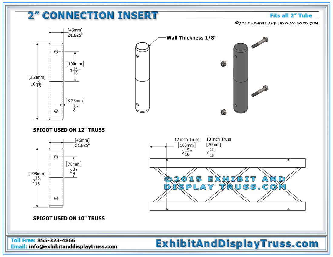 2_Inch_Spigot_Assembly_Instructions_Dimensions_Render_Portable_Aluminum_Truss 12\u2033 wide box truss linear truss lengths and pricing light design