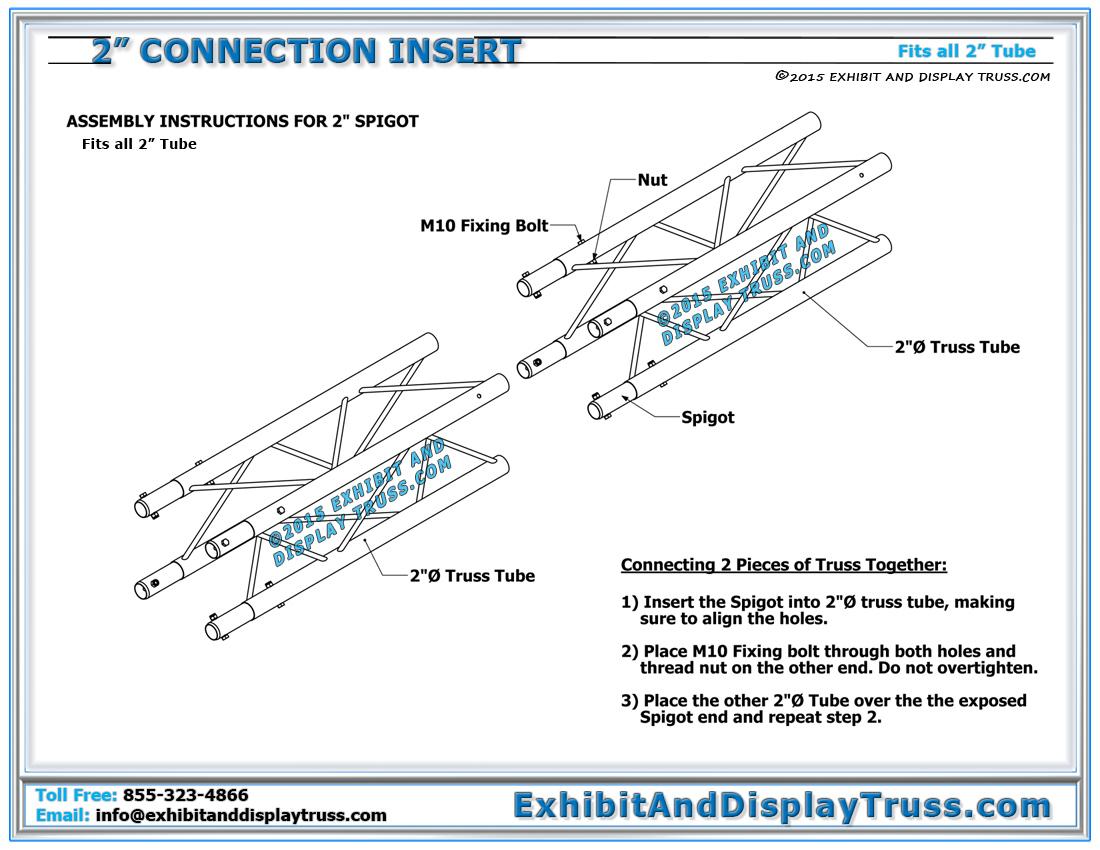 2 Tube Connection Insert For Aluminum Truss