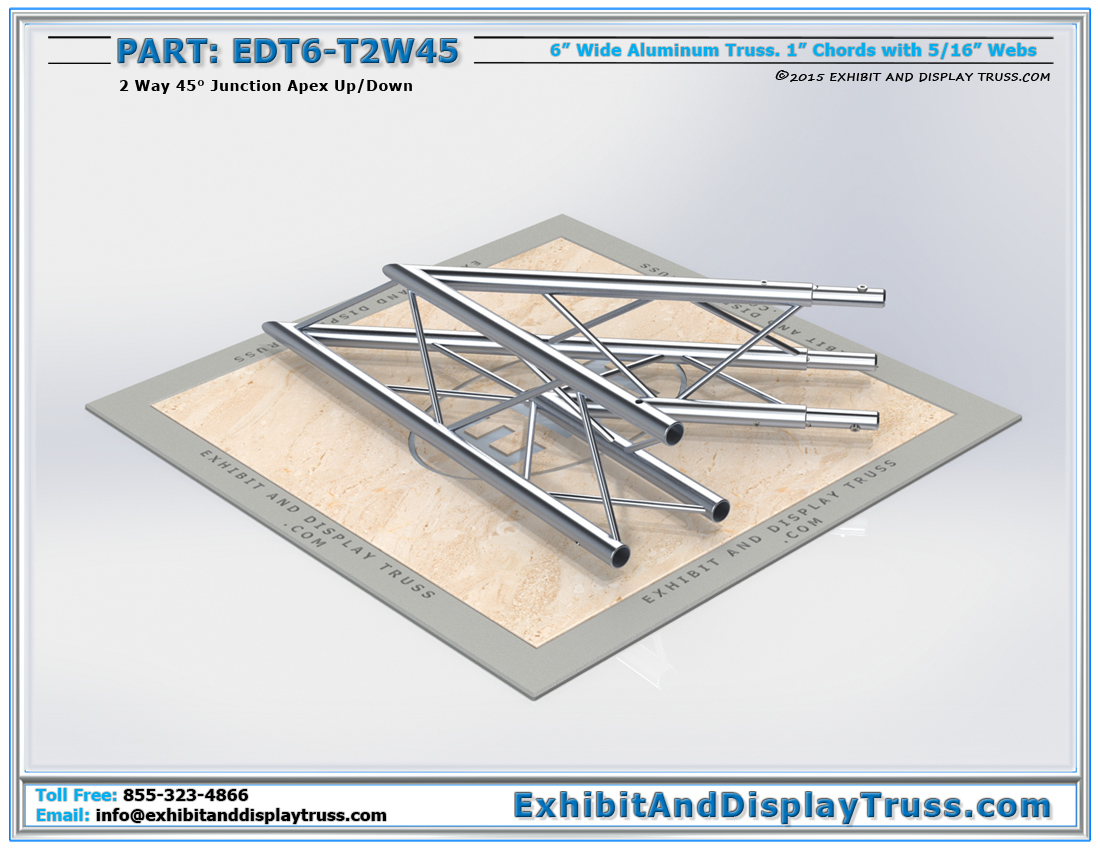 PART: EDT6-T2W45 / 2 Way 45° Junction Apex Up/Down