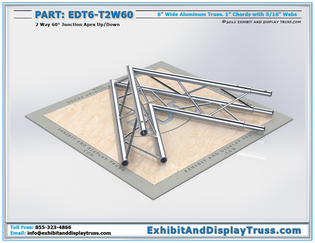 PART: EDT6-T2W60 / 2 Way 60° Junction Apex Up or Down