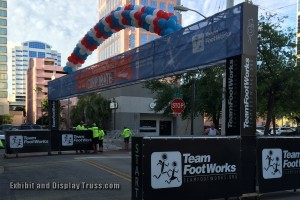 FootWorks uses this 48' wide finish line in Florida for many events over the season. They have added rolling caster boards to the out riggers and move it from the starting line area down the street to the finish line area later in the day. Light weight and strong our aluminum truss is perfect for racing events.