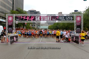 This large EDT-FL-7 was modified for Ultra Max and has proven to be an amazing looking finish line. Marathons like these must have a p[professional looking finish line that's safe and stable. Here's a larger wide version of the FL-7 system in use. A great aluminum truss finish line by Exhibit and Display Truss.com