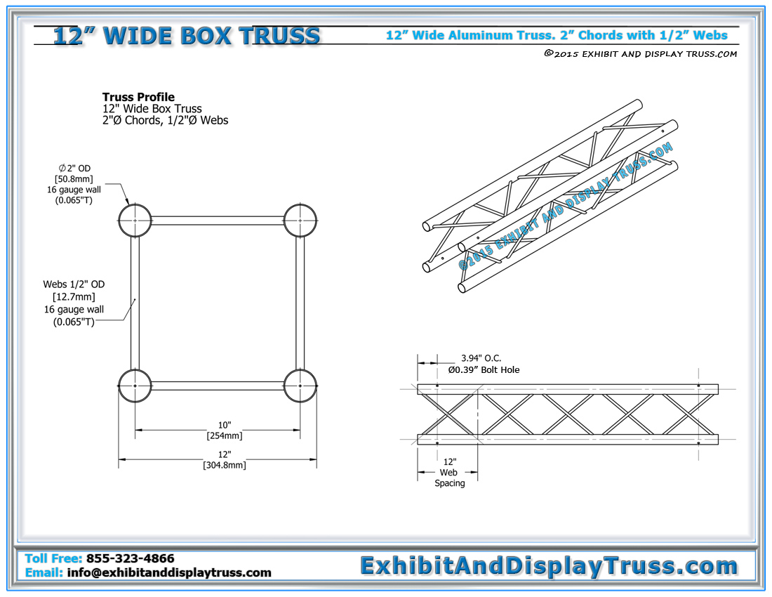 12_wide_box_truss_Dimensions_exhibit_display 12\u2033 wide box truss linear truss lengths and pricing light design